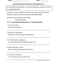 Sentences Worksheets   Compound Sentences Worksheets [ 1342 x 1012 Pixel ]