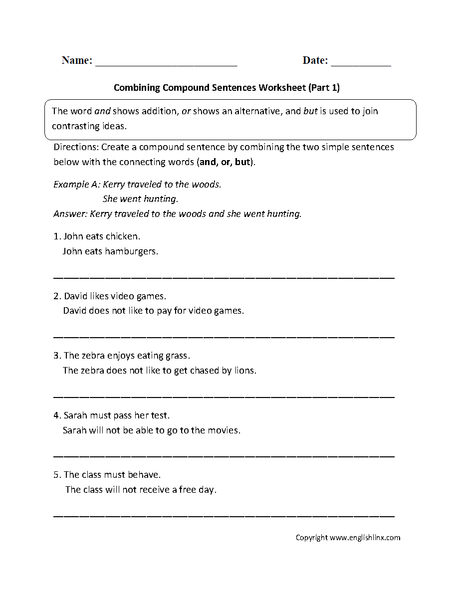 hight resolution of Sentences Worksheets   Compound Sentences Worksheets