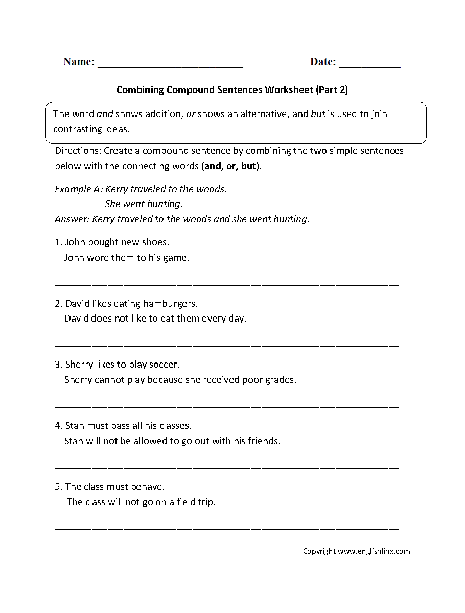 hight resolution of Sentences Worksheets   Compound Sentences Worksheets
