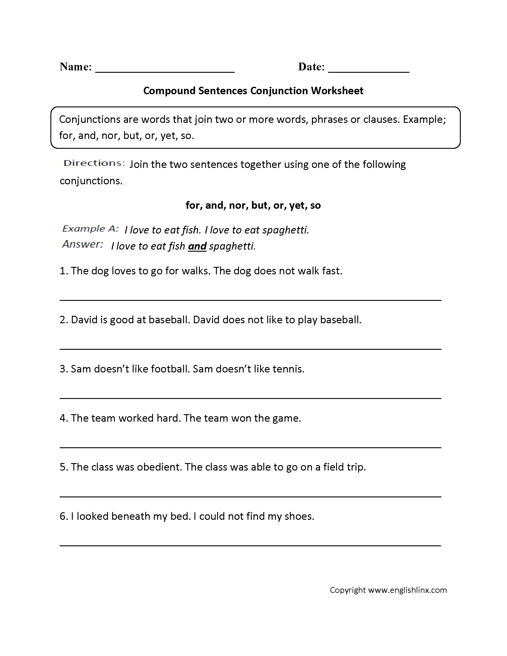 hight resolution of Parts Speech Worksheets   Conjunction Worksheets