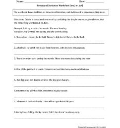 Sentences Worksheets   Compound Sentences Worksheets [ 1166 x 884 Pixel ]