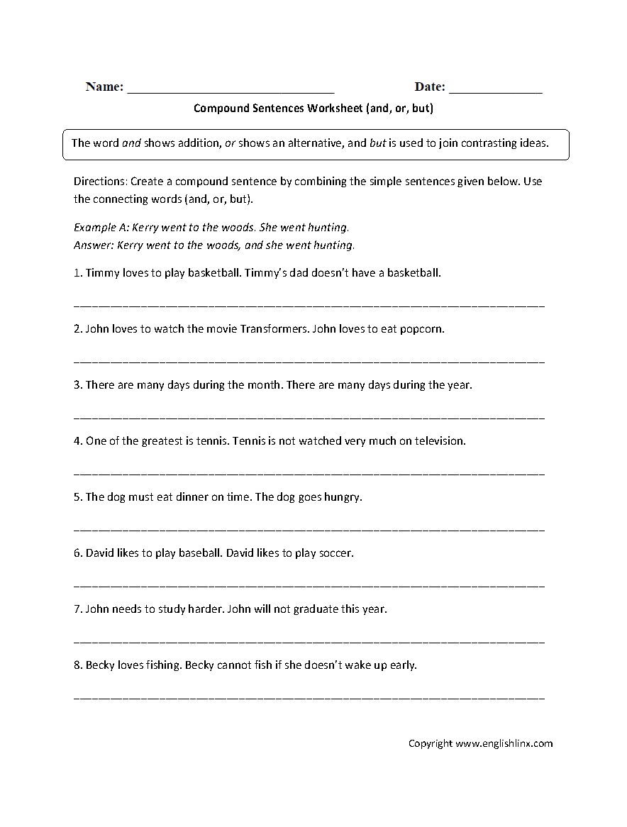 medium resolution of Sentences Worksheets   Compound Sentences Worksheets