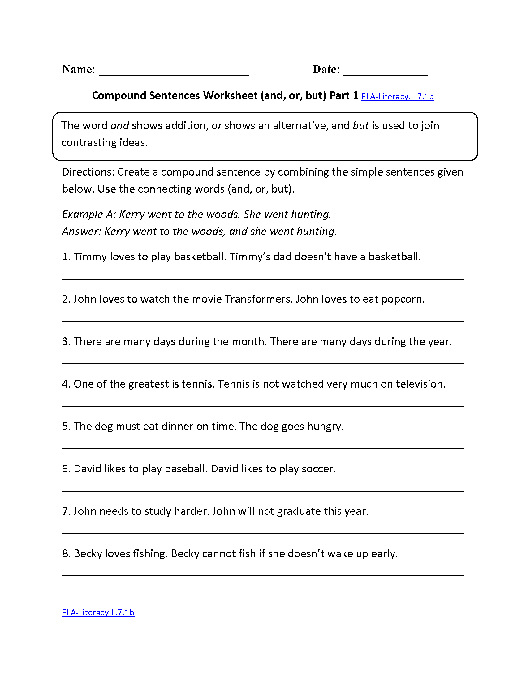 Seventh Grade 7th Grade English Worksheets With Answer Key