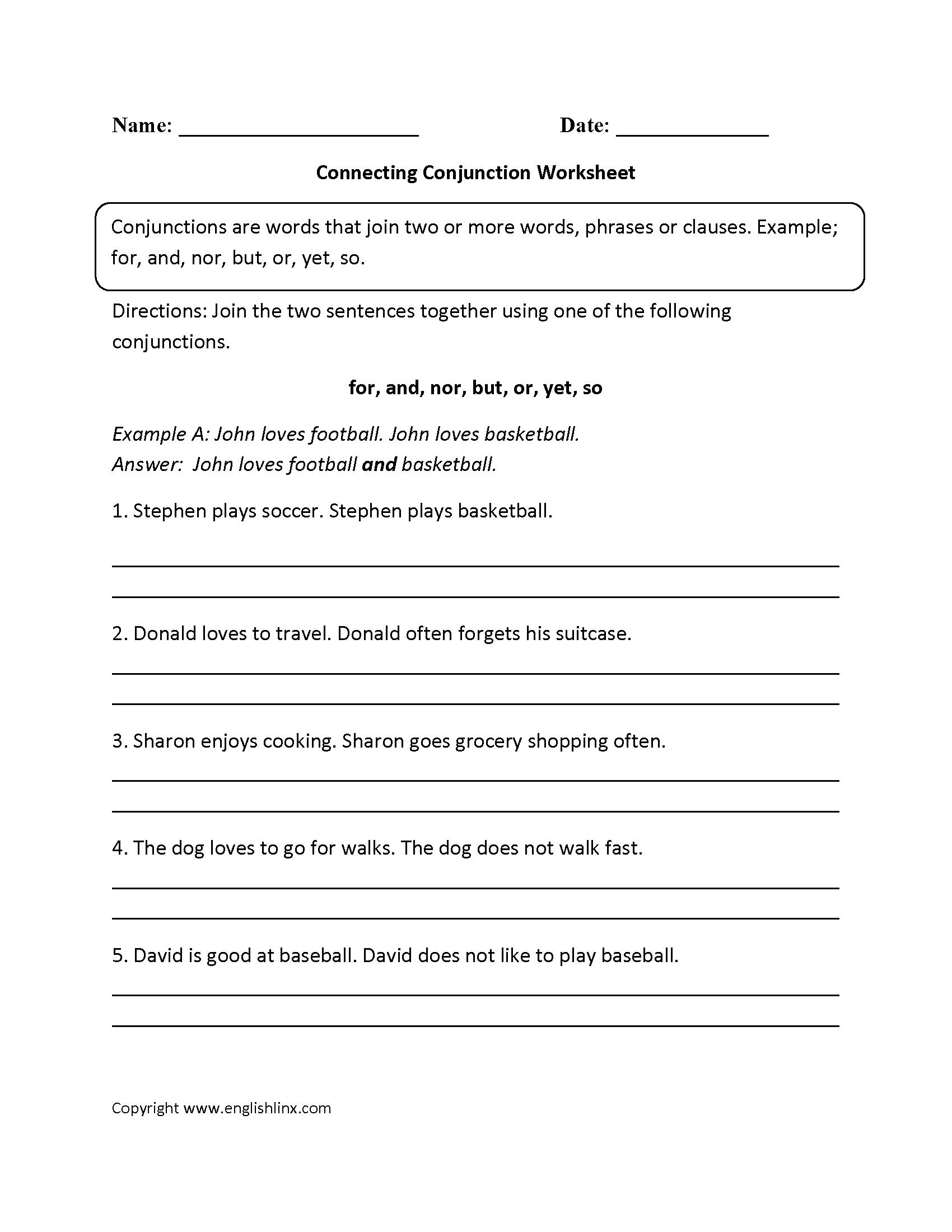 Parts Speech Worksheets