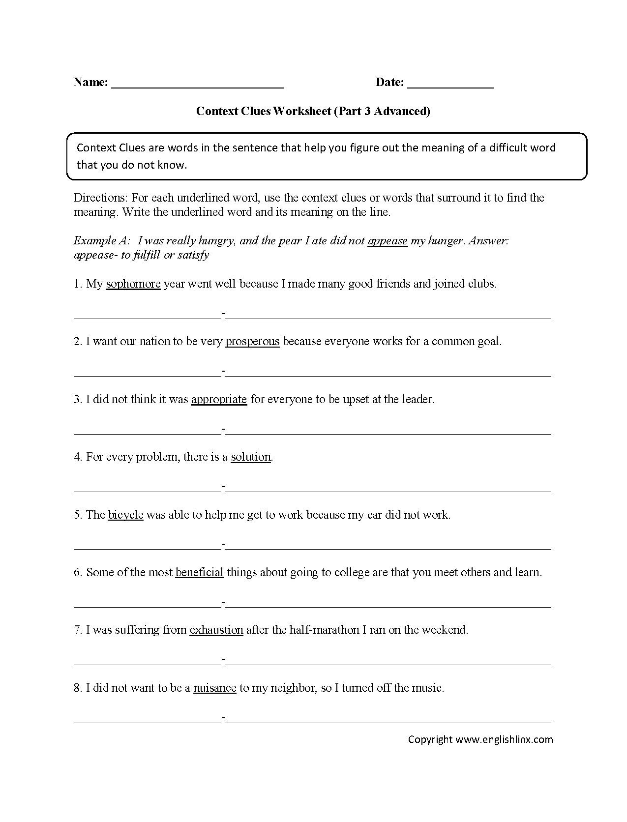 hight resolution of Englishlinx.com   Context Clues Worksheets