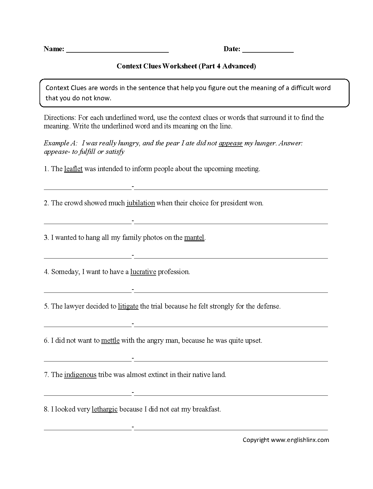 hight resolution of Context Clues Worksheets 7th Grade   Printable Worksheets and Activities  for Teachers