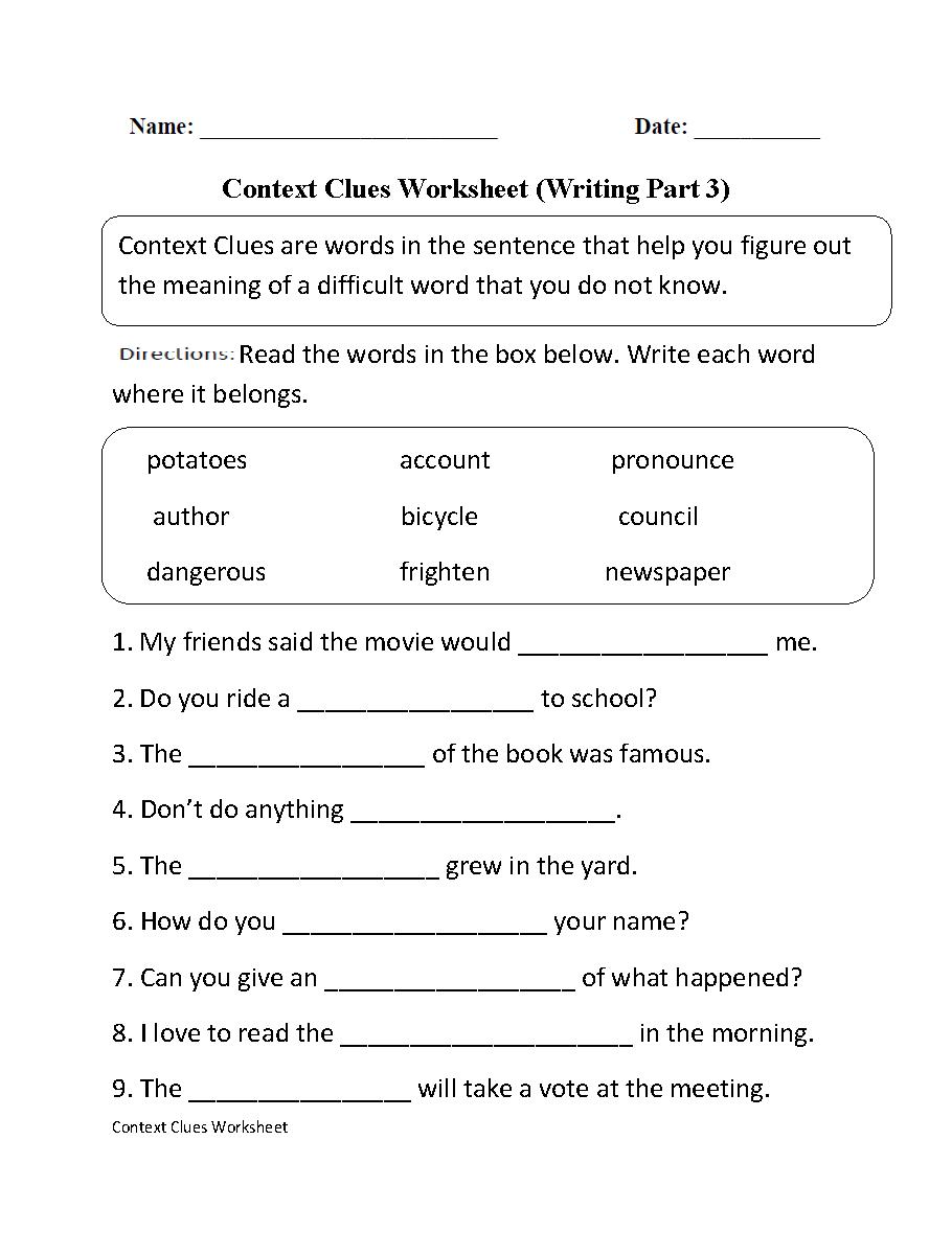 medium resolution of Englishlinx.com   Context Clues Worksheets
