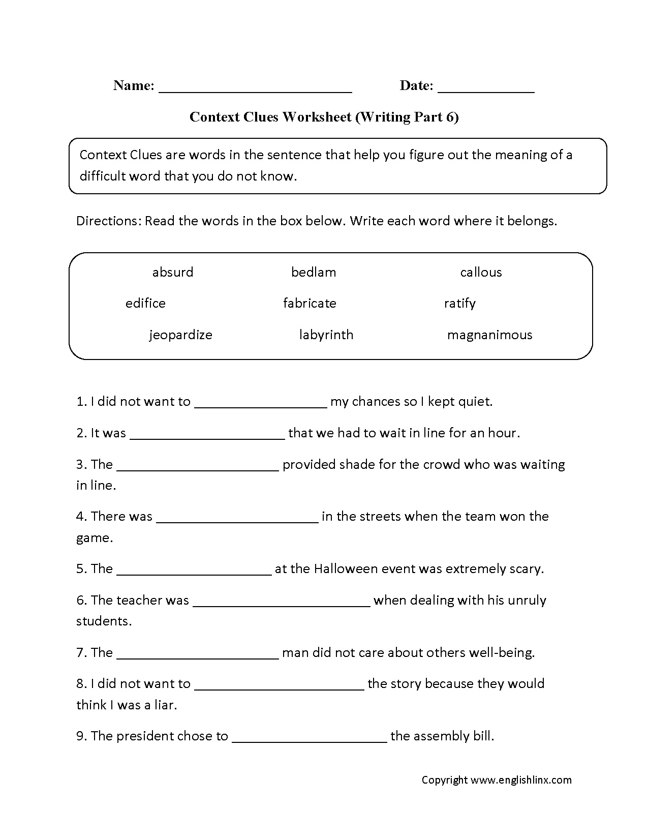 Worksheets On Context Clues