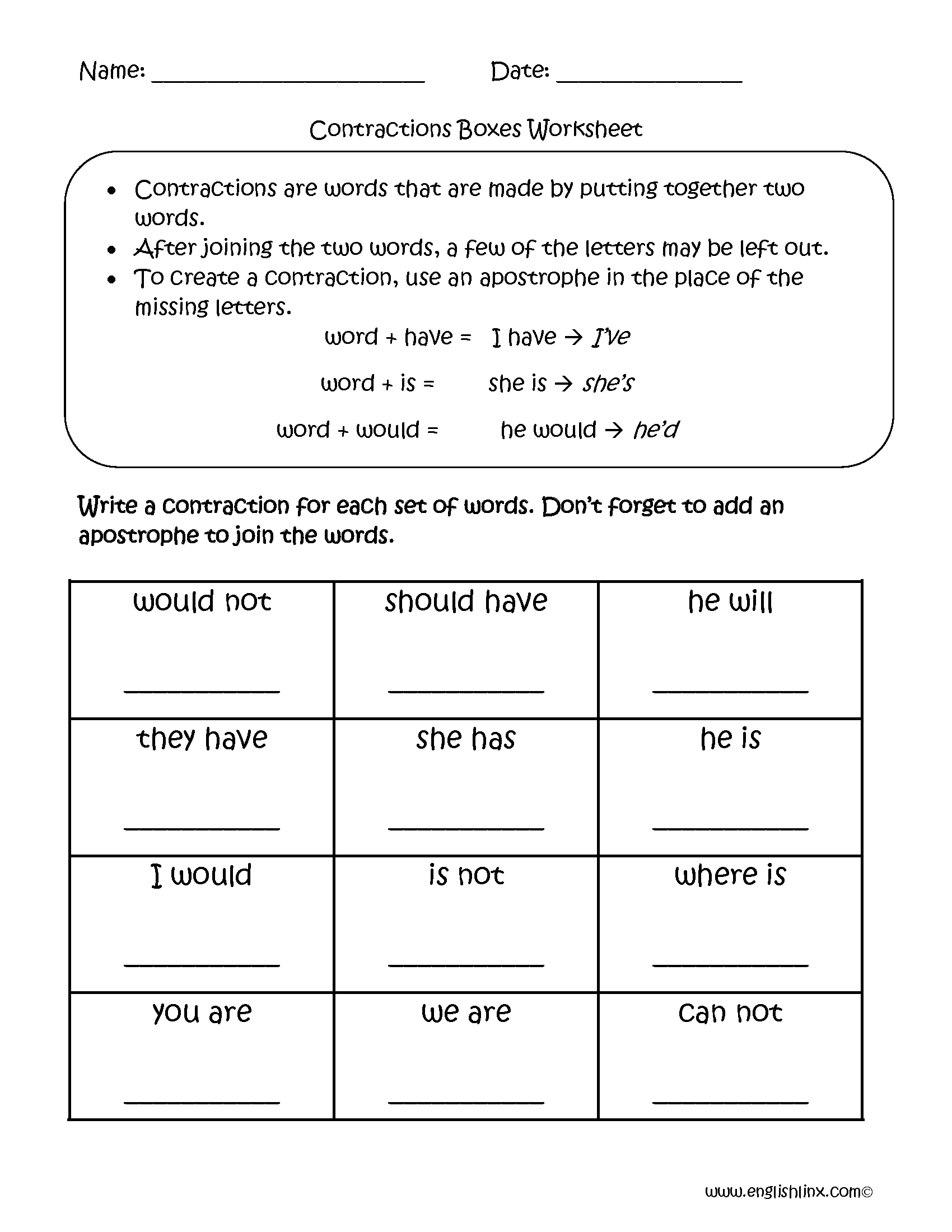 Contractions Worksheet 2nd Grade