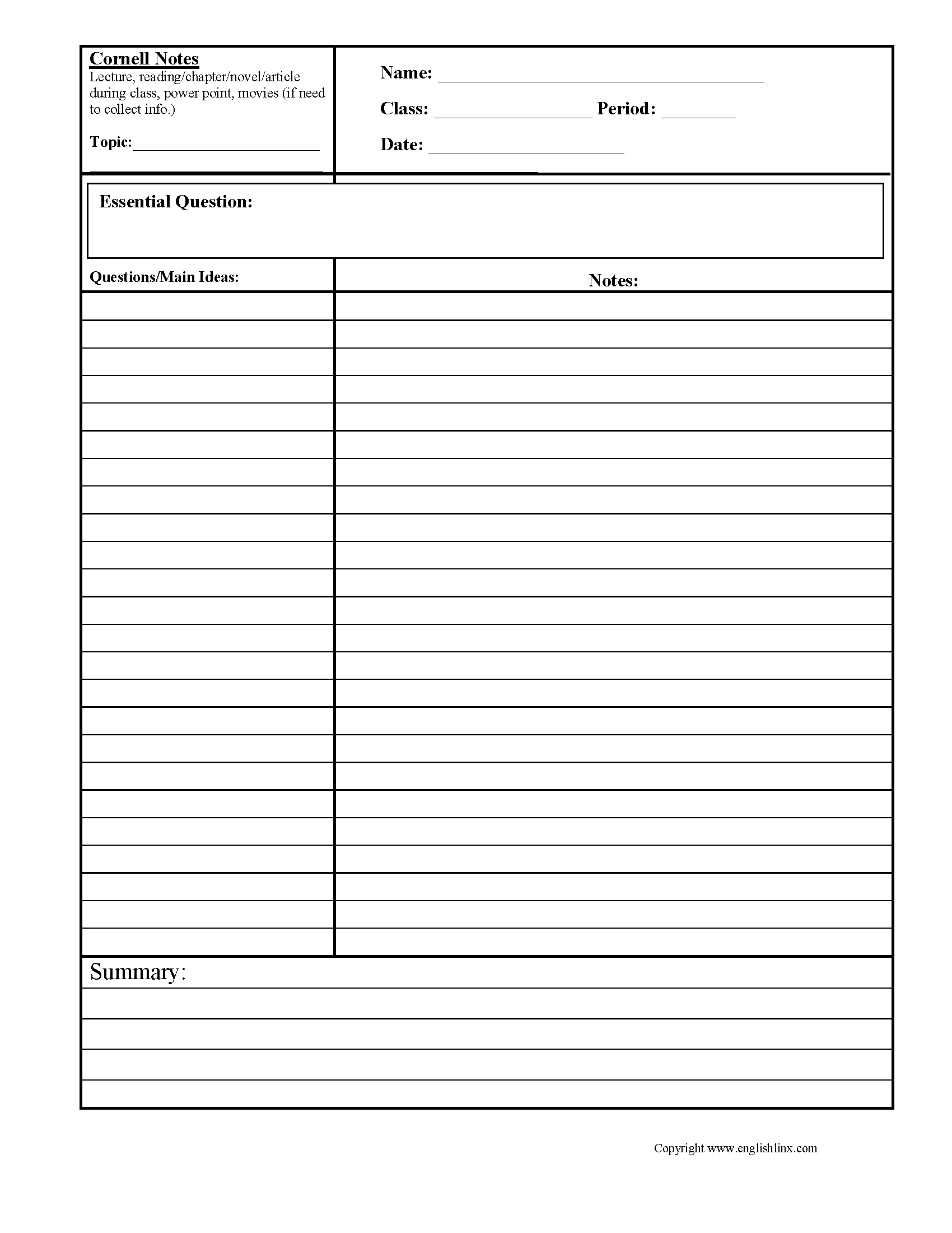 hight resolution of Summary Worksheets   Cornell Notes Summary Worksheets