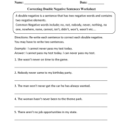 Word Usage Worksheets   Negatives Worksheets [ 2200 x 1700 Pixel ]