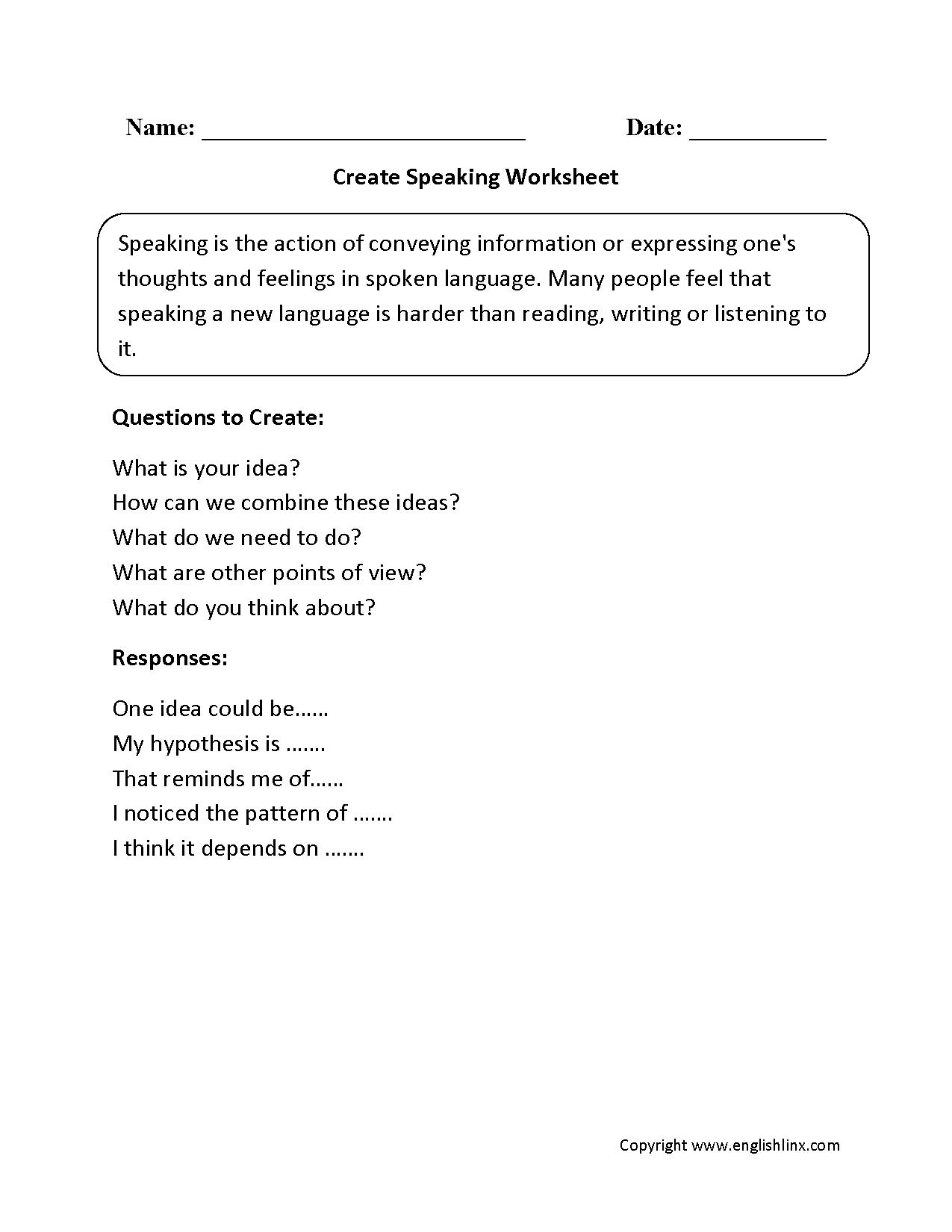hight resolution of Englishlinx.com   Speaking Worksheets