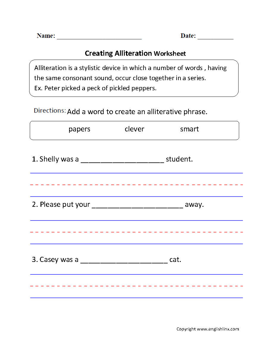 hight resolution of Englishlinx.com   Alliteration Worksheets