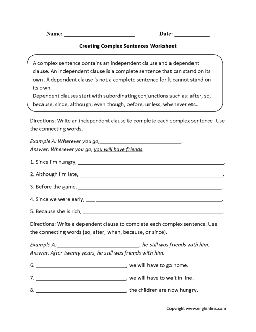 small resolution of Complex Sentences Worksheets   Creating Complex Sentences Worksheet