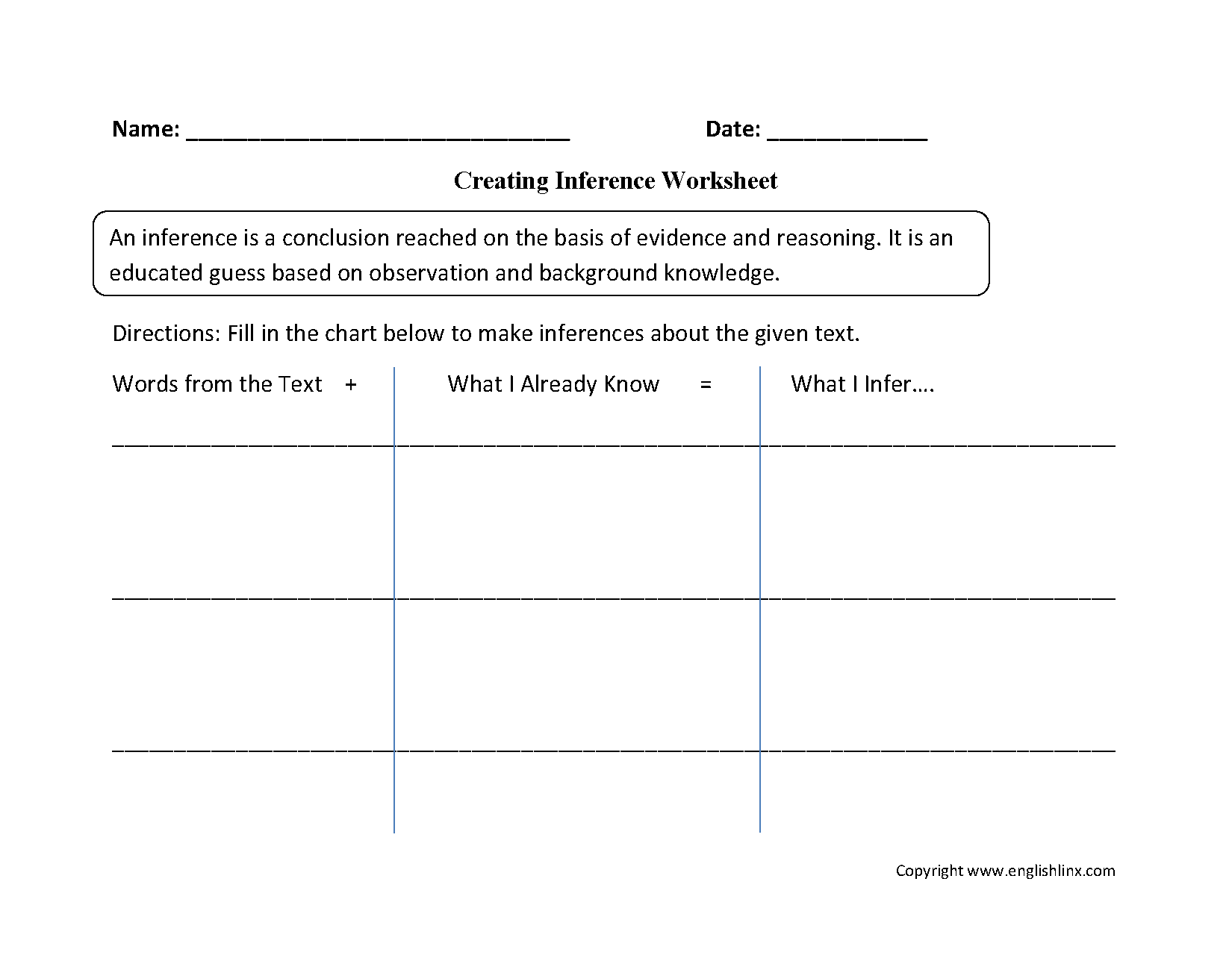 Inference Worksheet For Grade 5