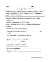 Figurative Language Worksheets | Irony Worksheets
