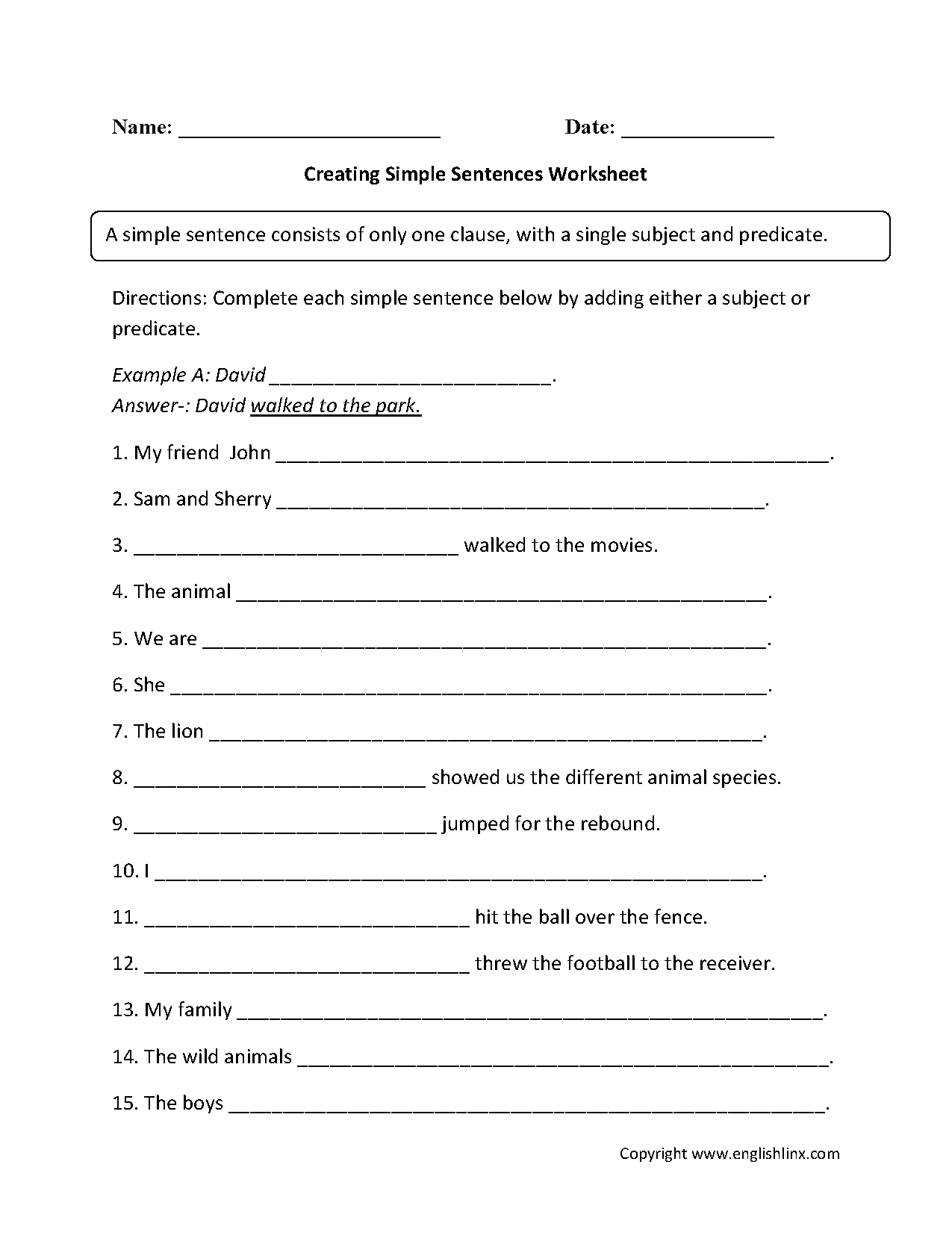 Types Of Sentences Worksheet Year 4