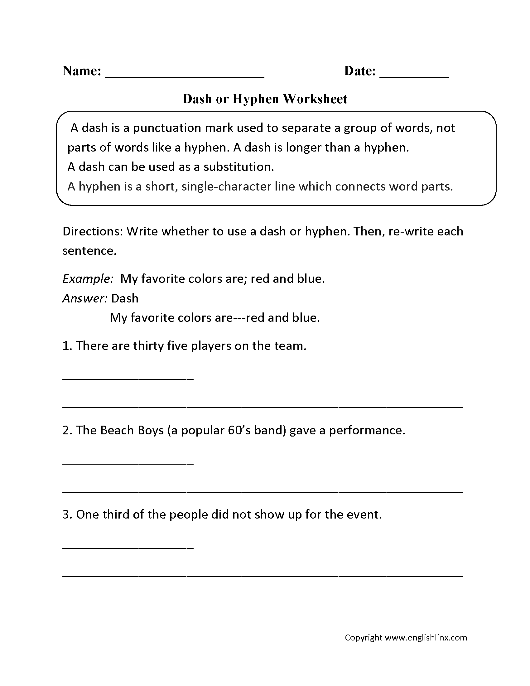 Hyphen Worksheet Year 6