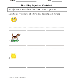Regular Adjectives Worksheets   Describing Adjectives Worksheet [ 1331 x 1003 Pixel ]