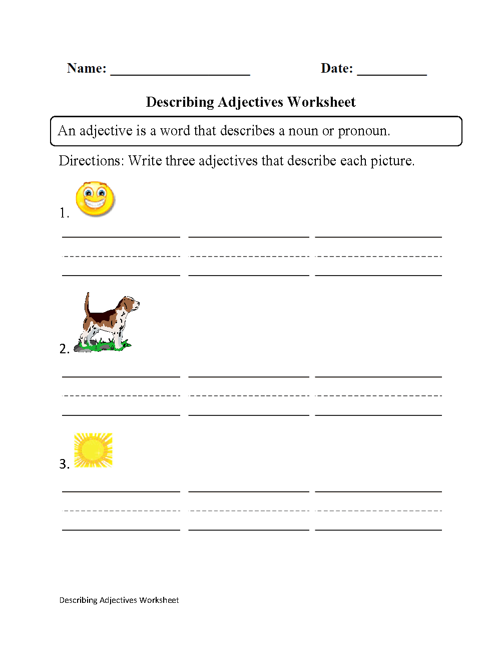 hight resolution of Regular Adjectives Worksheets   Describing Adjectives Worksheet