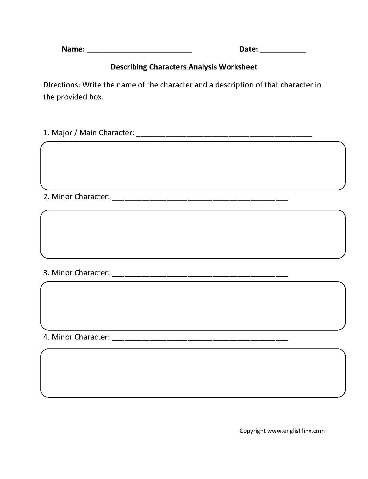 Printables Of Characterysis Worksheet