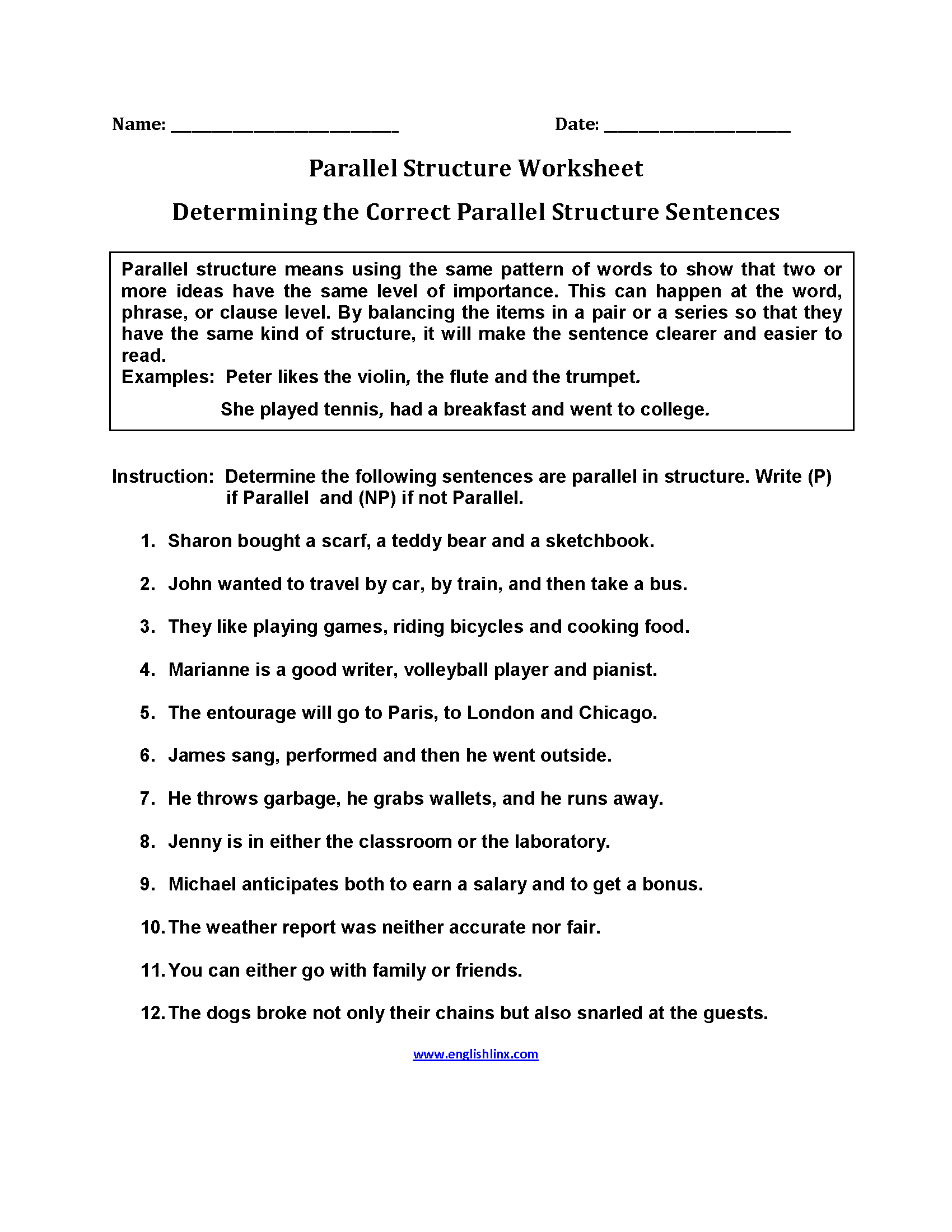 hight resolution of Englishlinx.com   Parallel Structure Worksheets