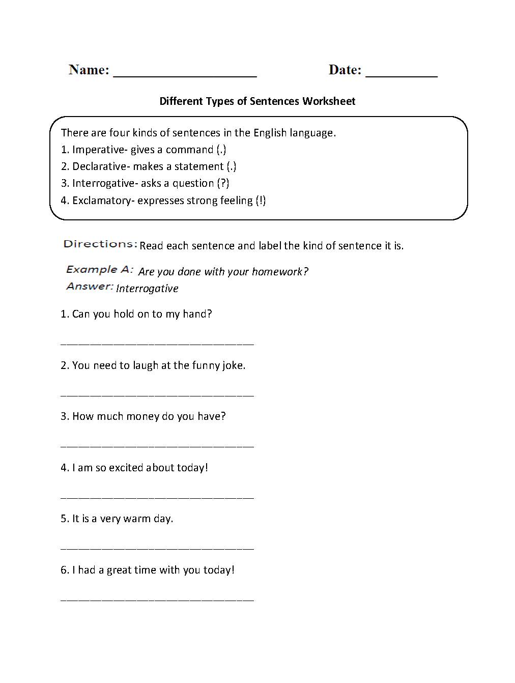 hight resolution of Types of Sentences Worksheets   Different Types of Sentences Worksheet
