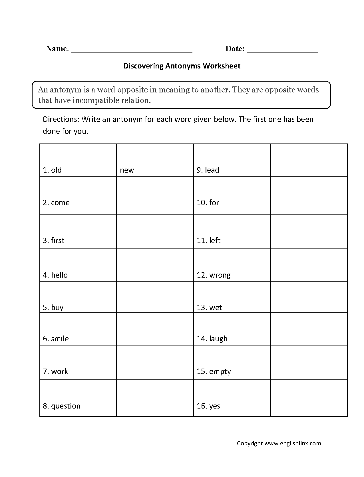 hight resolution of Englishlinx.com   Antonyms Worksheets