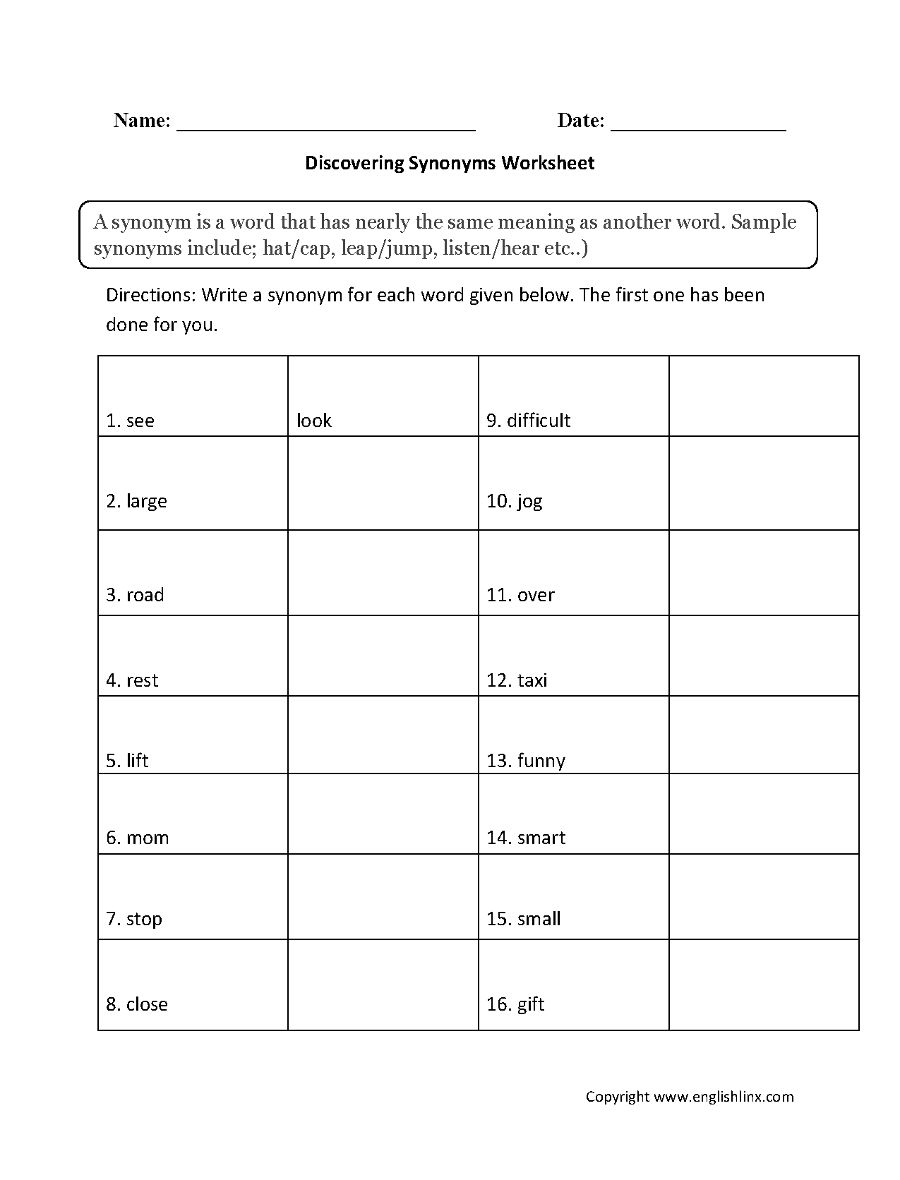 hight resolution of Englishlinx.com   Synonyms Worksheets