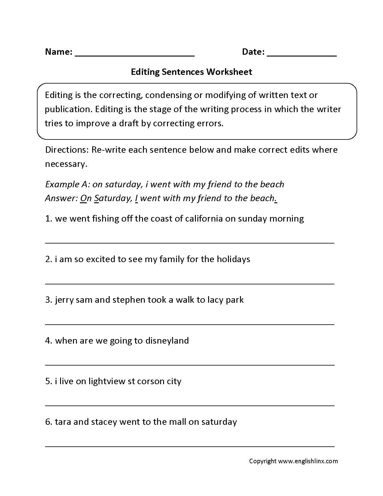 Free Printable Proofreading Worksheet Verd Tense