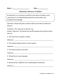 Reading Worksheets | Inference Worksheets