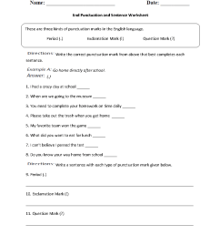 Punctuation Worksheets   End Punctuation and Sentence Worksheet [ 1188 x 910 Pixel ]