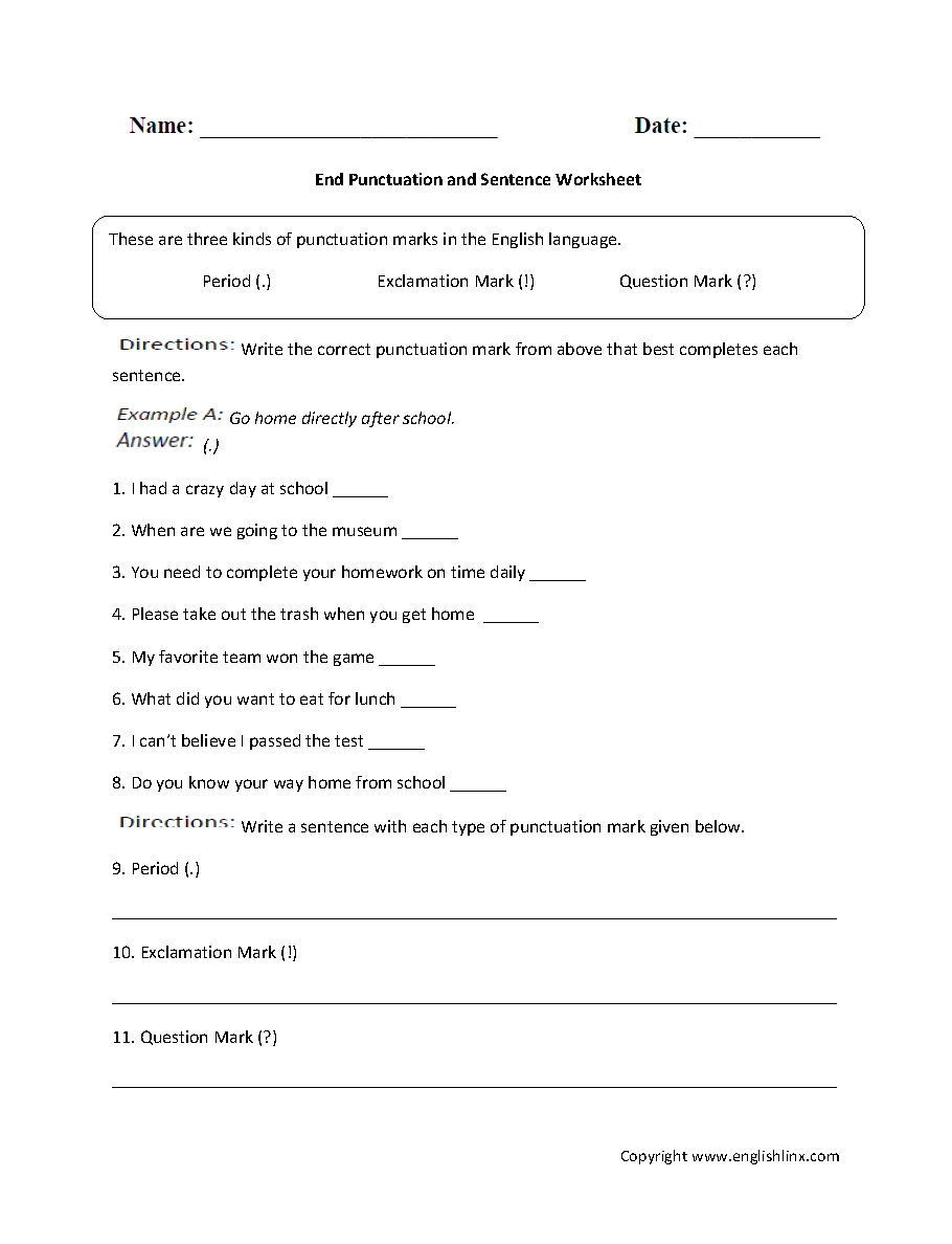 hight resolution of Punctuation Worksheets   End Punctuation and Sentence Worksheet