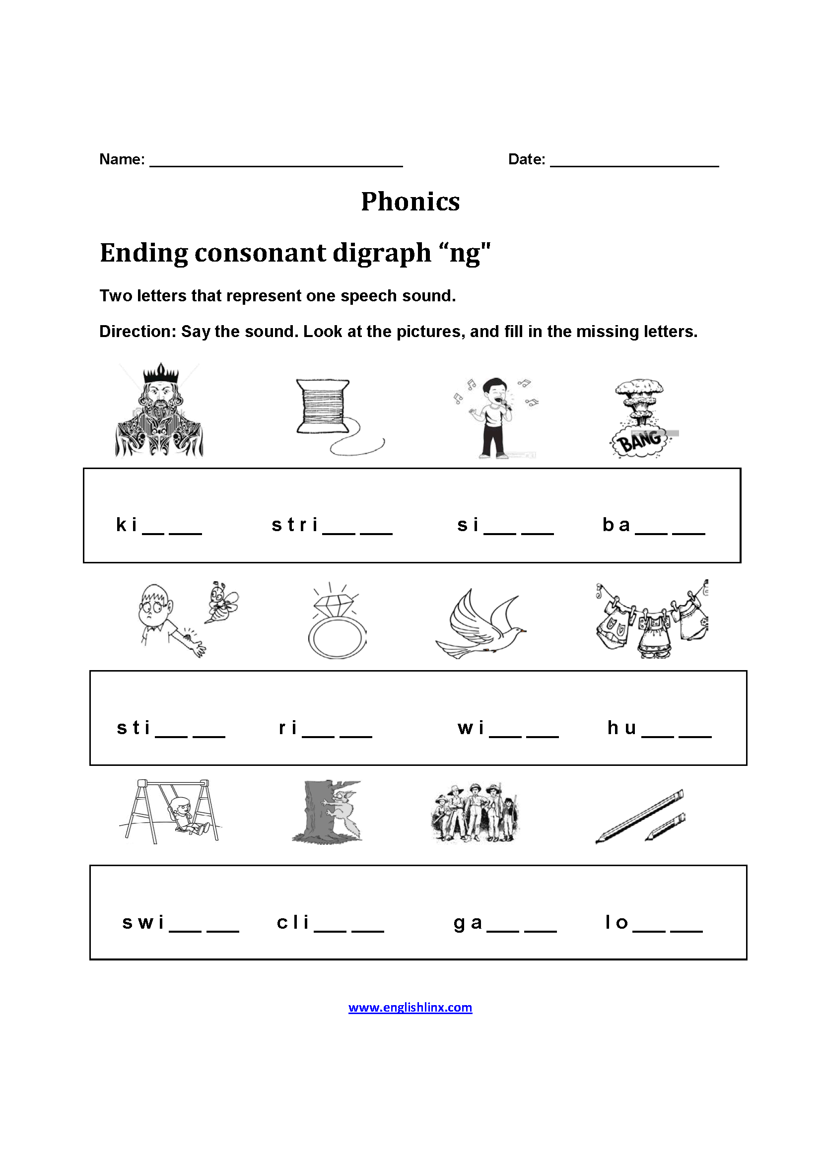 Consonant Digraphs Worksheet 2nd Grade