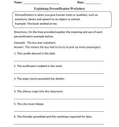 Figurative Language Worksheets   Personification Worksheets [ 2200 x 1700 Pixel ]