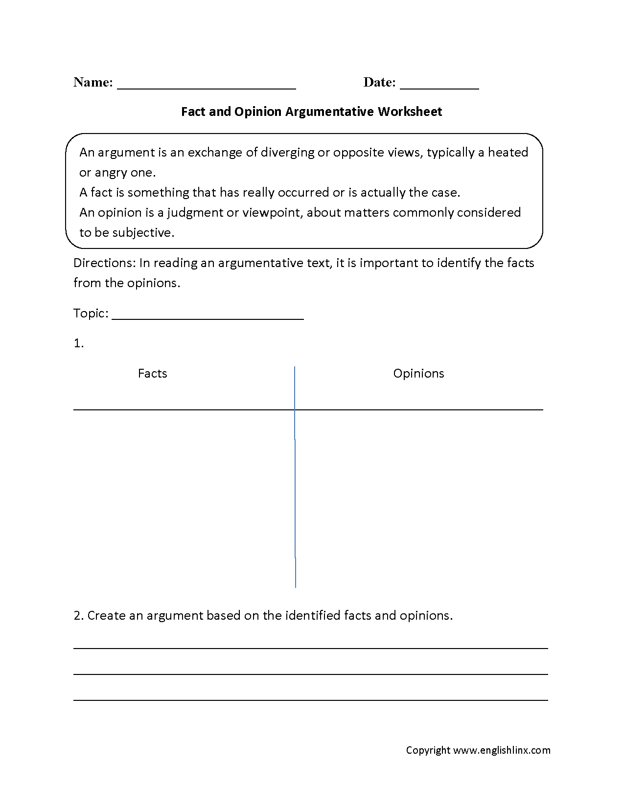 Evidence Based Claim Worksheet