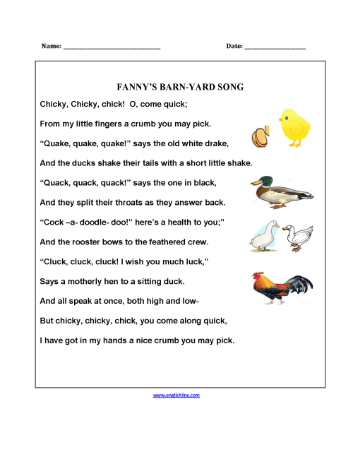 small resolution of Poetry Worksheets   Fanny's Barnyard Song Poetry Worksheets