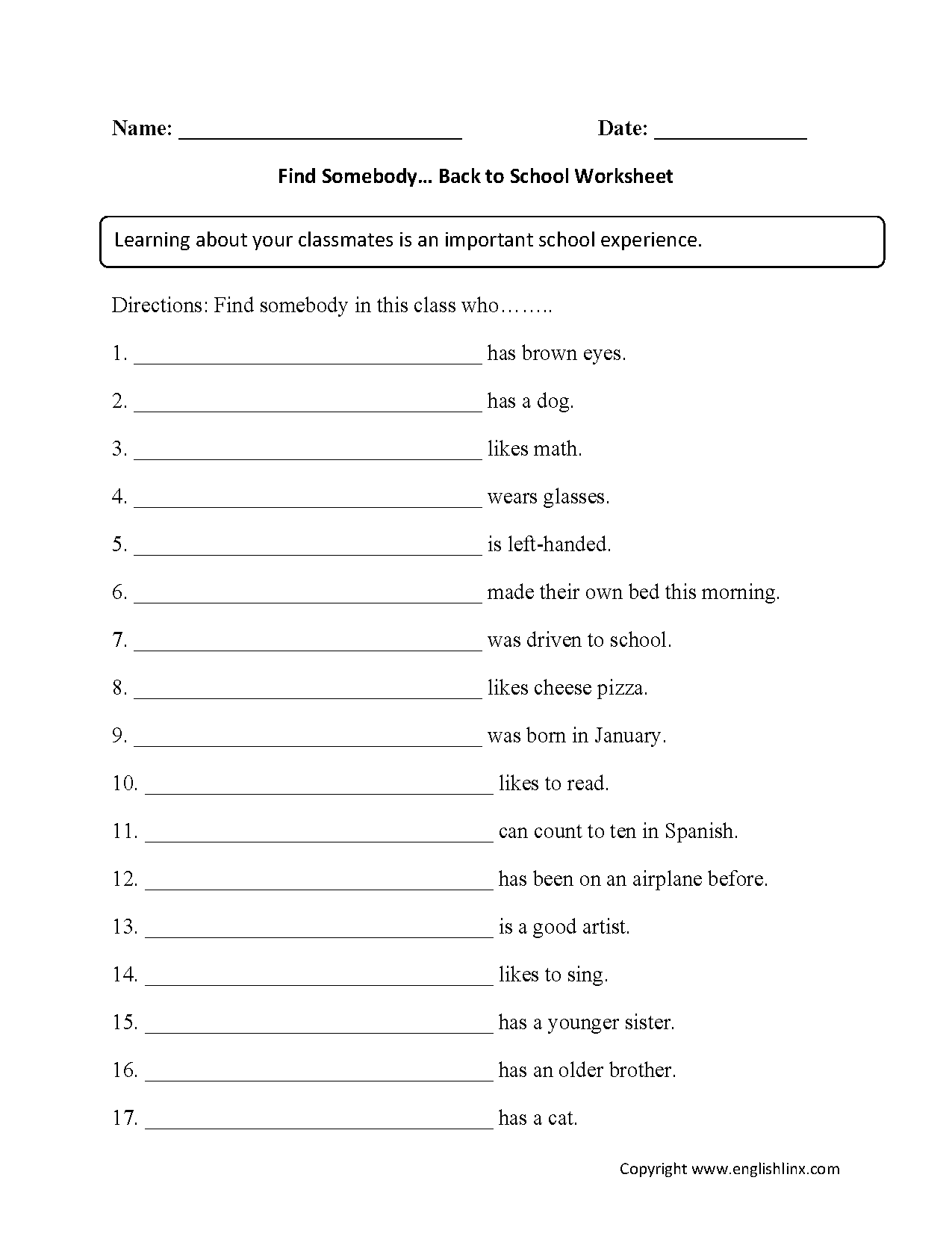 hight resolution of Englishlinx.com   Back to School Worksheets