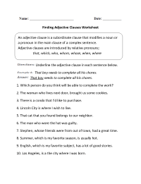Englishlinx.com | Clauses Worksheets