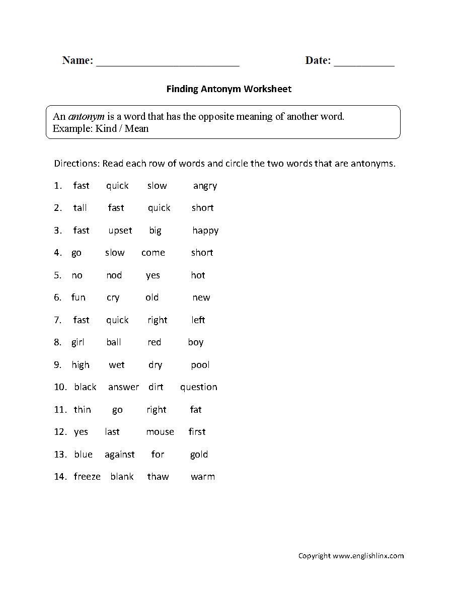 medium resolution of Vocabulary Worksheets   Synonym and Antonym Worksheets