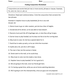 Parts Speech Worksheets   Conjunction Worksheets [ 2200 x 1700 Pixel ]