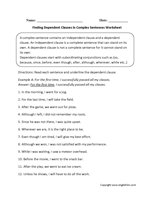 small resolution of Sentences Worksheets   Complex Sentences Worksheets