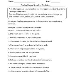 Word Usage Worksheets   Negatives Worksheets [ 2200 x 1700 Pixel ]