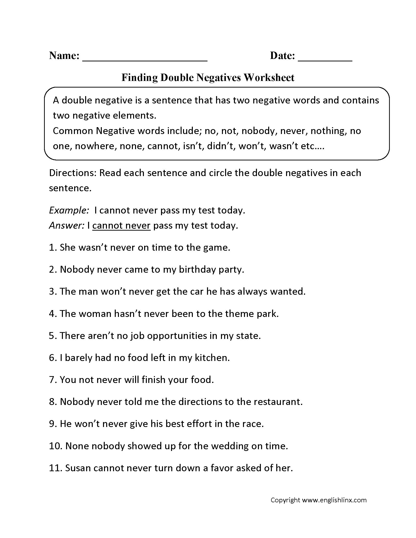 hight resolution of Word Usage Worksheets   Negatives Worksheets