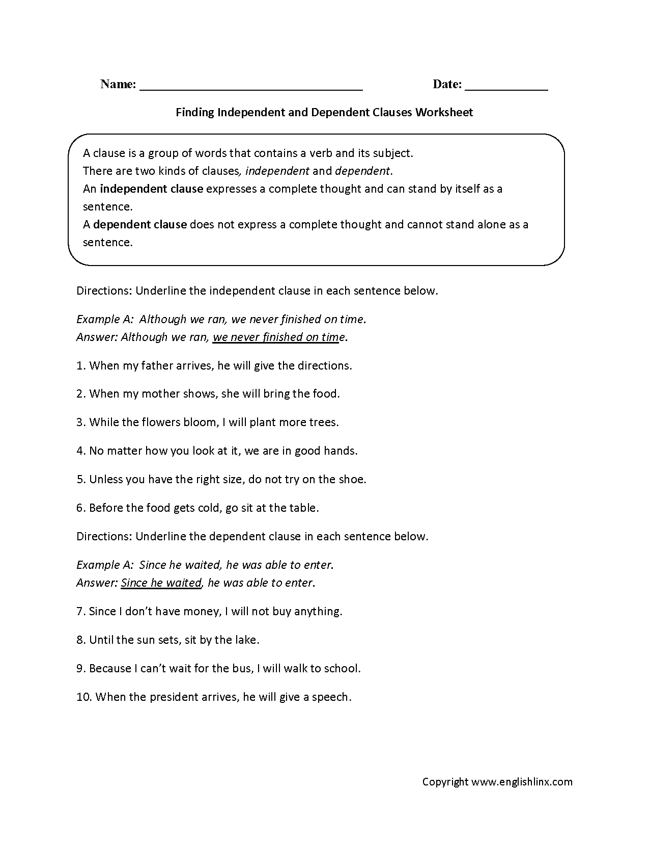 hight resolution of Englishlinx.com   Clauses Worksheets