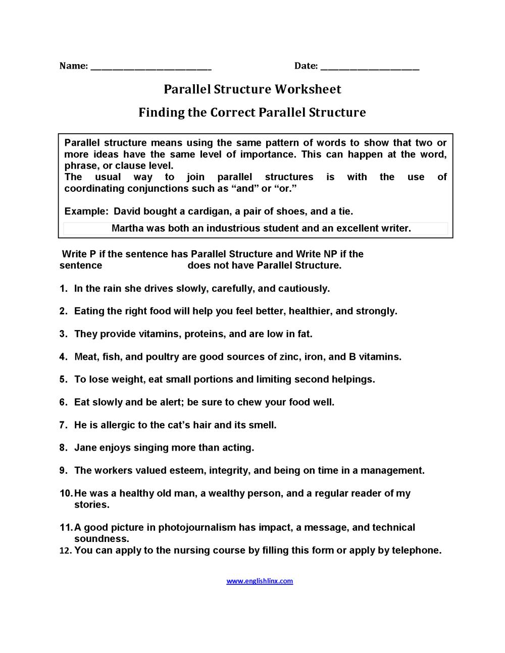 medium resolution of Parallel Structure Worksheets   Finding Parallel Structure Worksheets