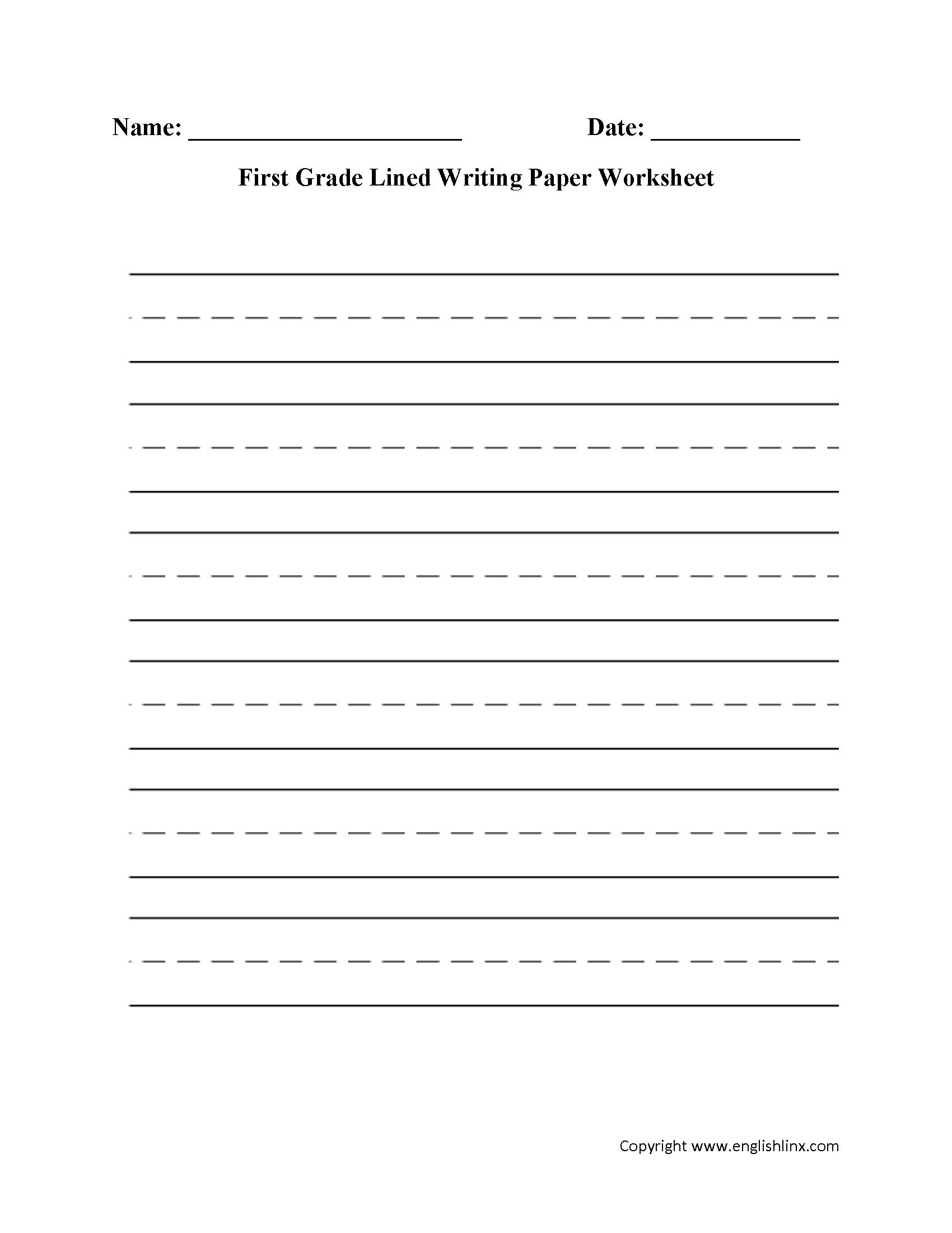 Handwriting Worksheet Elementary