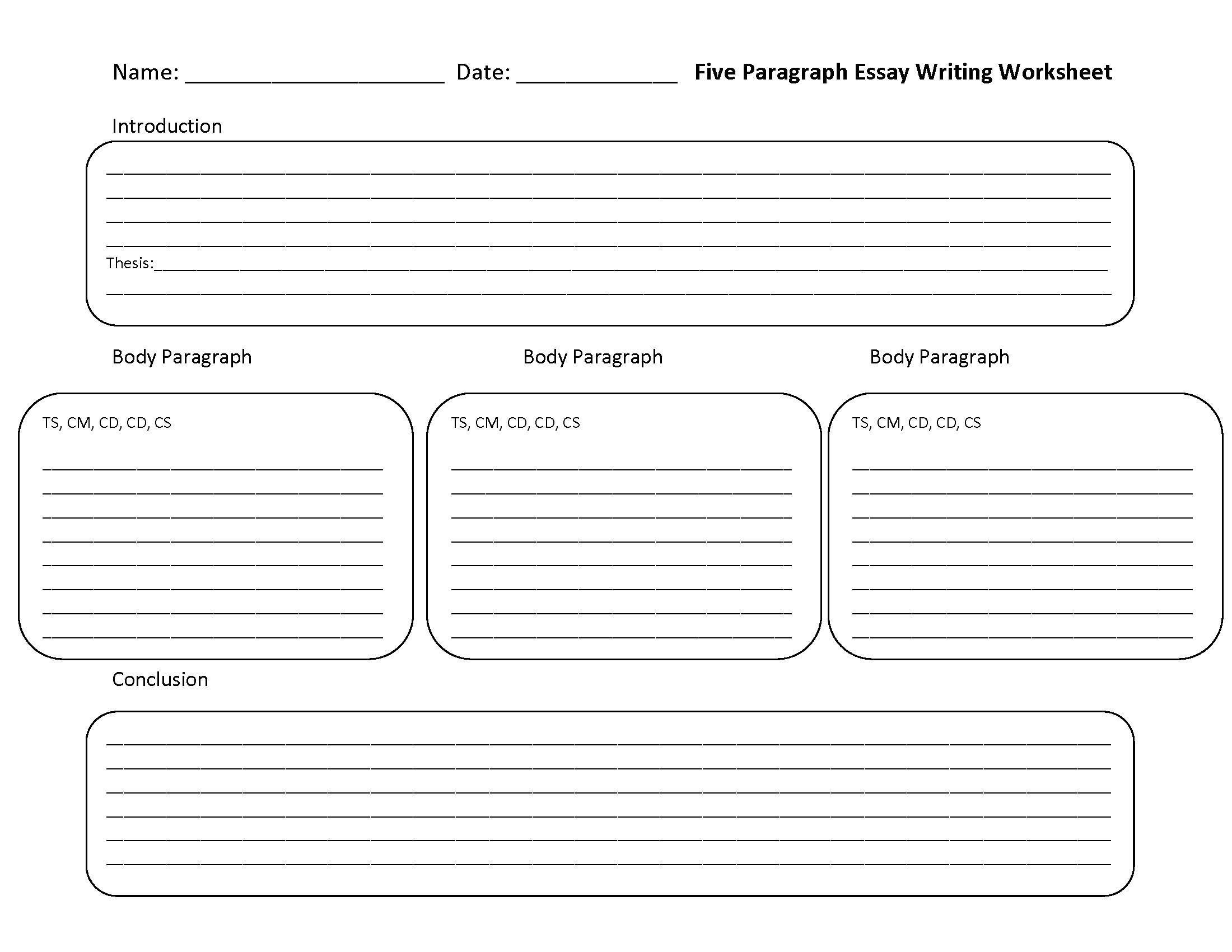 Essay Structure Worksheet