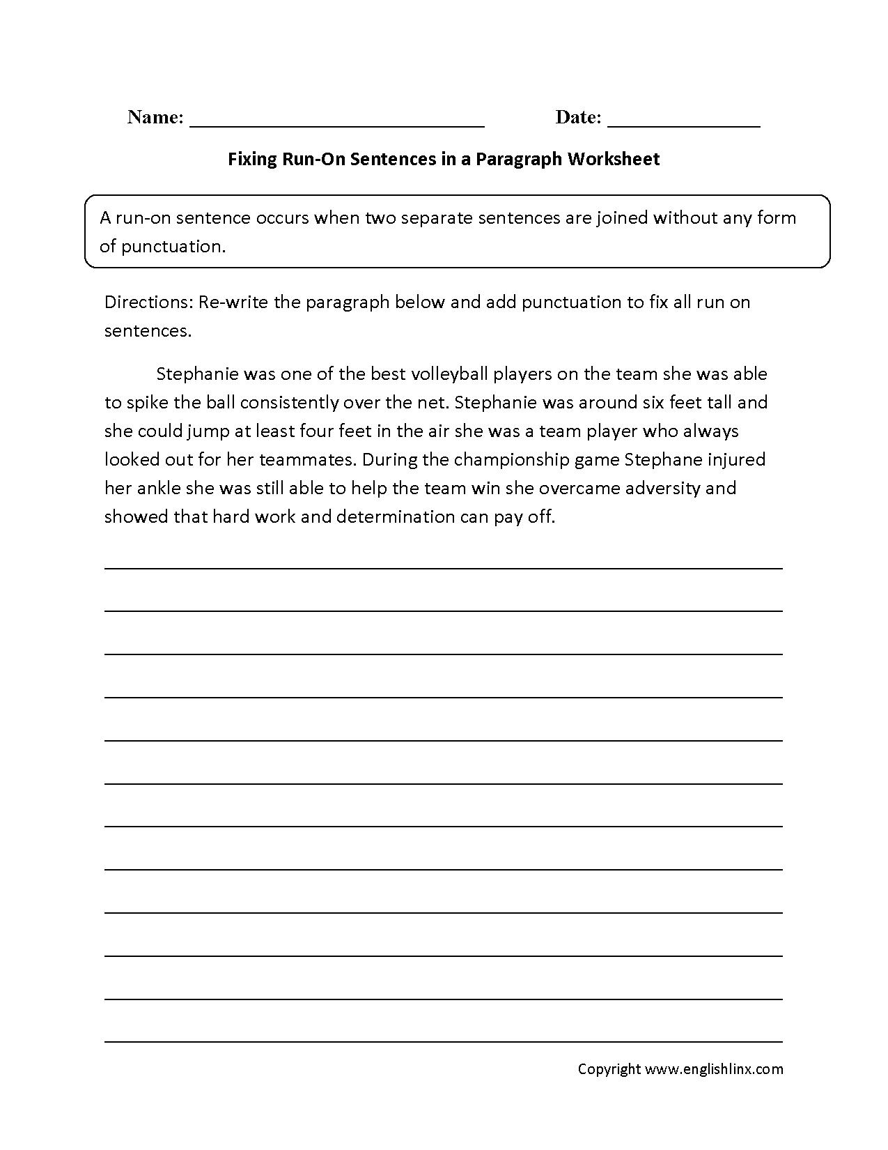 hight resolution of Sentences Worksheets   Run on Sentences Worksheets