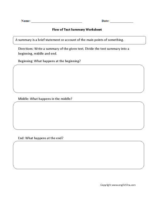 small resolution of Reading Worksheets   Summary Worksheets